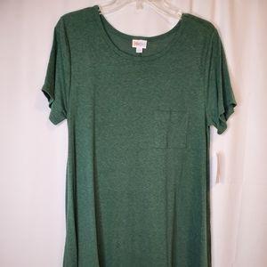 LuLaRoe Heather Green Solid Carly Dress Size L